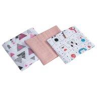 Pj Baby - Set Muselina Girl Multifunctional, 3 bucati din Bumbac, 75x65 cm, Scutec textil