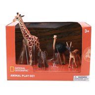 National Geographic - Set 4 figurine Girafa, Elefantel, Strut si Antilopa