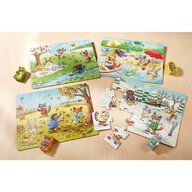 Haba - Puzzle din lemn Anotimpurile , Puzzle Copii ,  4 in 1, Cu figurine, piese 60