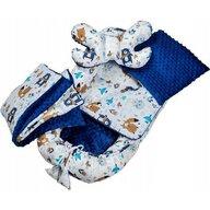 Infantilo - Suport de dormit Minky Ursuleti Cu paturica, Cu 2 perne, Cu saltea cu doua fete Baby Nest, Albastru