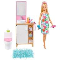 Barbie - Set de joaca Mobilier baie Cu accesorii, Cu papusa by Mattel