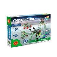 Alexander Toys - Set de constructie Multifunctional Roboti , Constructor ,  4 in 1, 151 piese metalice