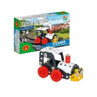 Alexander Toys - Set de constructie Vehicul Steamer Locomotiva cu aburi , Constructor , 74 piese metalice