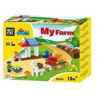 Blocki-Mubi - Set cuburi constructie mari Mubi Ferma+caruta, 33 piese, Blocki