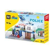 Blocki-Mubi - Set cuburi constructie mari Mubi Statia de politie, 58 piese, Blocki