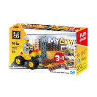 Blocki - Set cuburi constructie MyCity Vehicul transport marfa 3in1, 54 piese,