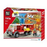Blocki - Set cuburi constructie MyFireBrigade Masina autoutilitara de pompieri cu lift, 158 piese,