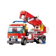 Blocki - Set cuburi constructie MyFireBrigade Masina autoutilitara de pompieri cu scara, 244 piese,