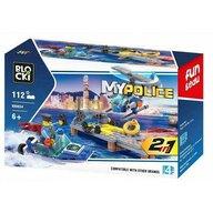 Blocki - Set cuburi constructie MyPolice Platforma politie, 112 piese,