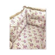 Deseda - Set de 6 bucati aparatori protectii laterale patut 120x60 cm  Ursi cu inimioare  roz