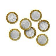 Learning Resources - Accesoriu Set de monede de jucarie 2 Lire sterline, 50 buc