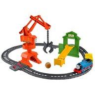 Fisher Price - Tren Set Cassia Crane and Cargo Sina cu locomotiva motorizata,  Cu vagon by Mattel Thomas and Friends