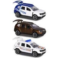 Majorette - Set  Dacia Duster masina alb albastru, masina maro si masina de politie