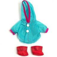 Miniland - Imbracaminte si incaltaminte Set pelerina ploaie si cizmulite , Pentru papusi de 21 cm