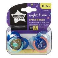 Tommee Tippee - Set suzete ortodontice de noapte, 0-6 luni, 2 buc, Racheta albastra
