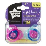 Tommee Tippee - Set suzete ortodontice de noapte, 0-6 luni, 2 buc, Roz/Bleu