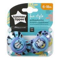 Tommee Tippee - Set suzete ortodontice de zi Fun, 6-18 luni, 2 buc, Tigru/Hipopotam