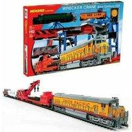 Mehano - Tren T741 Constructii Electric, Cu locomotiva, Patru vagoane, Sine si macara