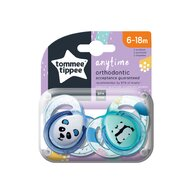 Tommee Tippee - Set suzete Ursuleti Panda 6-18 luni, 2 buc, Ortodontice, Anytime din Silicon, Alb/Verde
