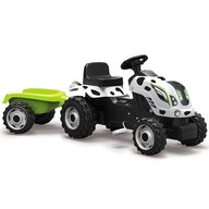 Smoby - Tractor cu pedale si remorca Farmer XL alb negru