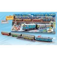 Pequetren - Trenulet electric Christmas cu lumina, pod si tunel