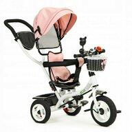 Ecotoys - Tricicleta JM-066-9L , Mecanism de pedalare libera, Suport picioare, Control al directiei, Rotire 360 grade, Roz