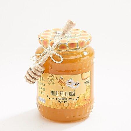 Miere naturala poliflora Traditii Romanesti cu lingura miere din lemn 900g