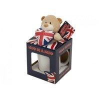 Cana Union Jack cu ursulet in cutie cadou