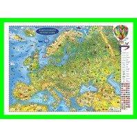 Harta Europei pentru copii (proiectie 3D) in franceza 600x470mm