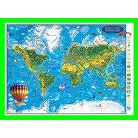 Harta Lumii pentru copii (proiectie 3D) in germana 1000x700mm