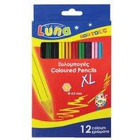 Luna Creioane colorate jumbo, 12 buc