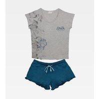Pijama de dama Anekke gri+albastru, short, S-L
