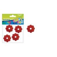 Set creativ - Aplicatii floricele rosii cu sclipici