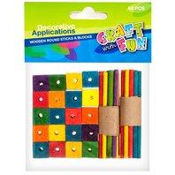 Set creativ - Betisoare rotunde si Cuburi din lemn, colorate, 60 piese