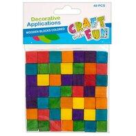 Set creativ - Cuburi lemn colorate 49buc