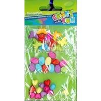 Set creativ - Margele colorate din plastic mix de inimioare , pietricele si fluturasi