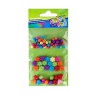 Set creativ - Margelute din plastic colorate in forma de bilute , inimioare si floricele
