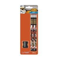 Set de 4 creioane Star Wars cu radiera si ascutitare
