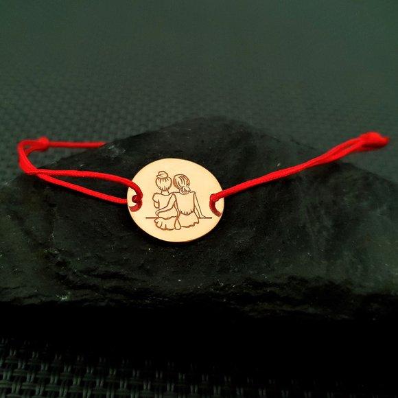 Bratara 2 surori / prietene - Argint 925 placat cu Aur galben 14k, snur rosu