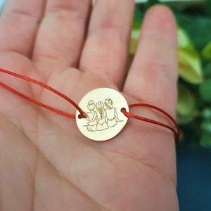 Bratara 3 surori / prietene - Argint 925 placat cu Aur  roz 14k, snur rosu