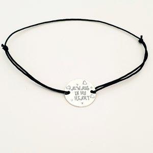 Bratara Always in my heart - Argint 925, snur negru