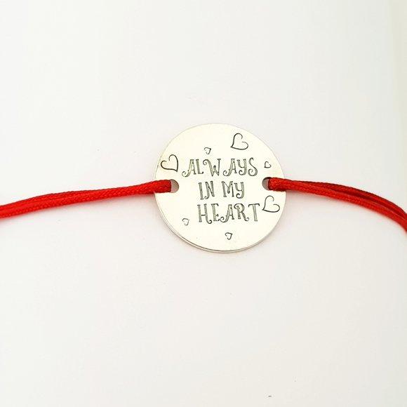 Bratara Always in my heart - Argint 925, snur rosu