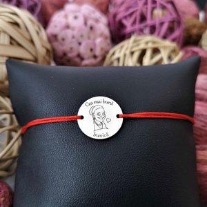 Bratara banut personalizata - Cea mai buna bunica - Argint 925, snur reglabil