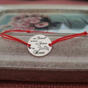 Bratara banut - Sisters by heart - Argint 925 - snur reglabil, diverse culori