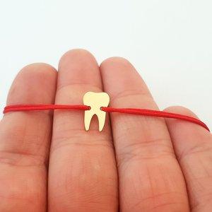 Bratara dinte - Aur galben 14k - snur reglabil