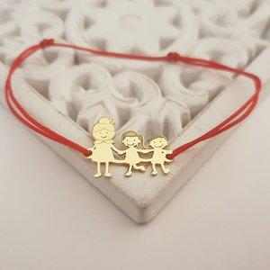 Bratara Familie - 3 Membri - Bunica si nepoti - Argint 925 placat cu Aur 14K - snur reglabil