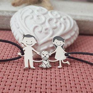 Bratara Familie - 3 Membri cu Bichon - Argint 925, snur negru