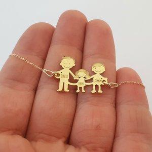 Bratara Familie - 3 Membri - cu lantisor si pandant Aur galben 14K