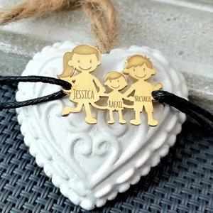 Bratara Familie - 3 Membri - pandant Argint 925 placat cu Aur 14K- snur negru matase vegetala reglabil