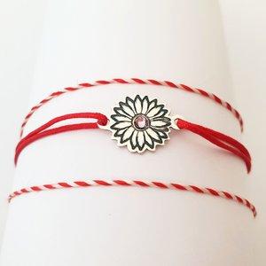 Bratara Floare cu multe petale - Argint 925 - cristal Swarovski - snur reglabil